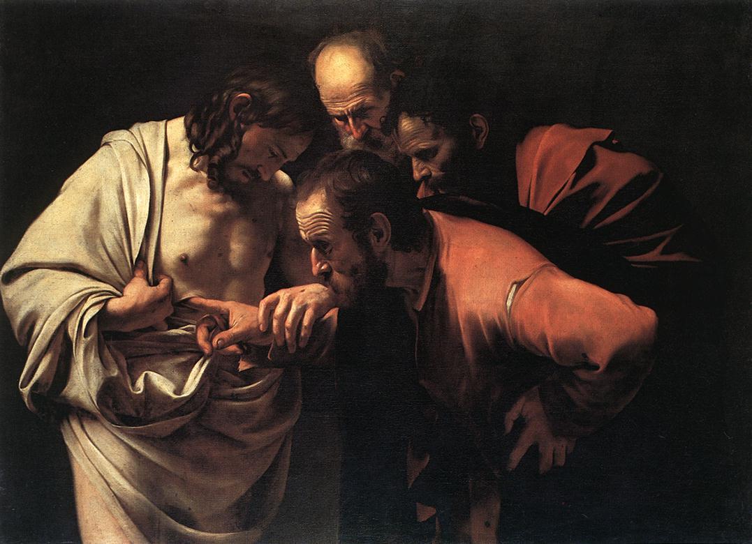 Caravaggio, incredulità di >Tommaso