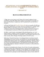MESSAGGIO DEL PAPA PER LA  46a GIORNATA MONDIALE DELLA PACE